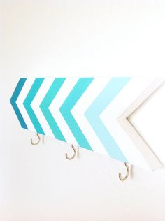 Wall hook - chevrons - turquoise blue aqua ombre - organization - foyer - pretty home decor - arrow - stripes - Mothers Day gift. $30.00, via Etsy.  #office #organization