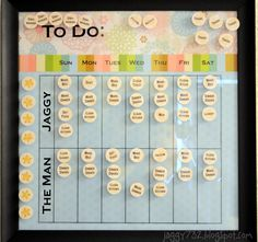 Adult Chore Chart...thinking it may be necessary to make/invest in one of these if I ever plan to NOT be doing all the housework