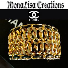 CHANEL Cuff Bracelet Chain  by MONALISAxCREATIONS on Etsy, $625.99