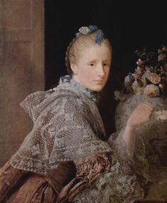A lace mantle worn over a pink silk sack back.  Margaret Ramsay, by Allan Ramsay, 1755.