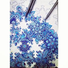 art clss, blue flowers, doodles, zentangle pattern ideas, doodl design, zentangle snowflakes, blues, midnight blue, snowflake drawing