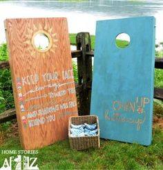 10 Amazingly Fun DIY Outdoor Games.  Cornhole  Beth built her cornhole boards and then decorated them with pretty paints and sayings.