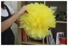 Tissue pom pom tutorial. Making these in hot pink, turquoise and yellow