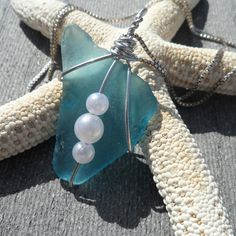 Aqua Sea Glass Necklace by conservanSEA on Etsy, $12.00