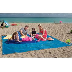 Sandless beach mat. Sand falls through but can't come up.