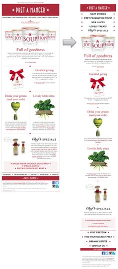 Responsive email design from Pret