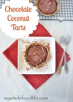 Vegan, Grain-Free, Gluten-Free Chocolate Coconut Tarts. #desserts #paleo #vegan #gluten_free #tarts