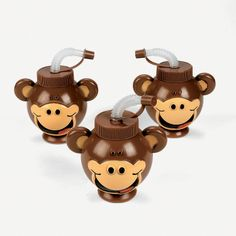 Beach Monkey Head-Shaped Cups With Lids & Straws - OrientalTrading.com