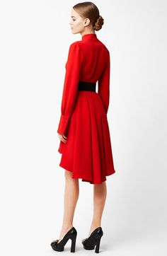 Alexander McQueen Long Sleeve Silk Dress