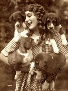 Mary Pickford with puppies