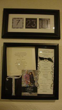 Display wedding keepsakes in a shadow box