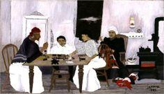 american artist, african americans, folk art, domino player, africanamerican, art print, naiv art, 1943, horac pippin