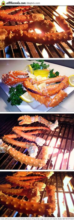 Grilled Alaskan King Crab Legs served with Garlic Butter
