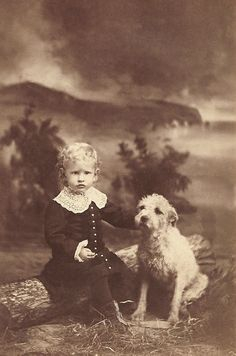 +~+~ Antique Photograph ~+~+  Blond locks, fancy dress, little boy and his adorable pup.