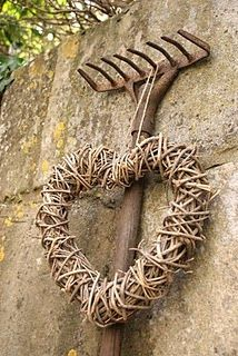 rusty rake heart wreath