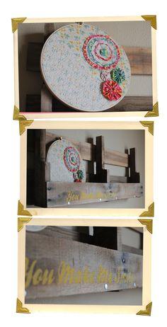 Cute embroidery hoop art and shelf