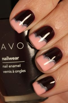 Coral and black with a glimpse of sparkle nails