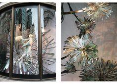 hand cut plasma cut steel birds, flowers, tress, etc at Harvey Nichols, London
