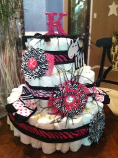 Gone Wild Pink Zebra Girl Diaper Cake