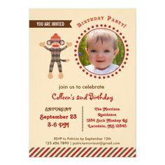 Custom Photo Sock Monkey Birthday Photo Invitation