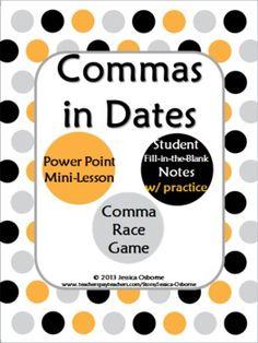 series, address, and dates.: Using Commas, 2Nd Grade Commas, Commas ...