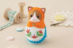 Orange Cat Japanese felt kit