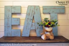 eat sign from reclaimed wood