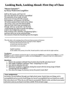 HIGH SCHOOL FIRST DAY OF SCHOOL POETRY ACTIVITY - CLOSE READING AND WRITING - TeachersPayTeachers.com