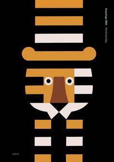 graphic designers, tomeckersley, tom eckersley, art posters, tigers, blog, illustr, modern design, kid