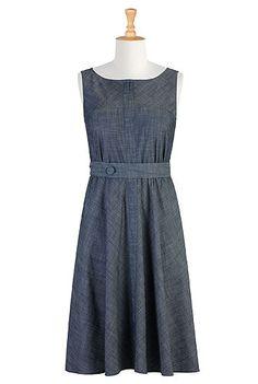 Sash waist chambray dress