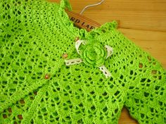 Very High Quality Handmade Bright Green Crochet Baby Clothes Crochet Infant Spring Dresses, Crochet Flower Children Clothing (LSY01). $40.00, via Etsy.