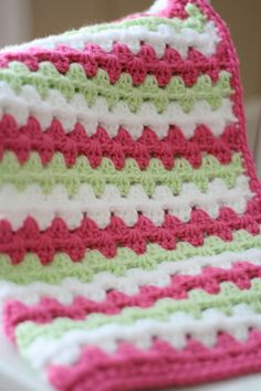 Crocheted Baby Blanket Granny Stripe Baby by DaisyCottageDesigns