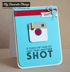 """made by joanne: camera card """"just take another shot"""". MFT dienamics """"cute camera's 2"""" and """"picture this stampset"""". this would cheer anyone one up!!!"""
