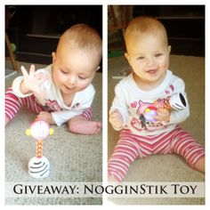 Giveaway: NogginStik Developmental Toy created by a developmental therapist to encourage early milestones in babies. It helps parents interact with their baby and encourage brain development.