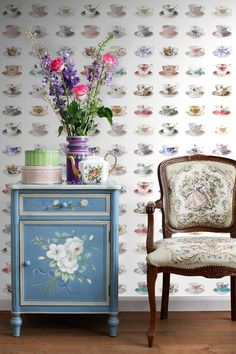 wallpaperXL tea cups collection Pretty Nostalgic ESTAhome.nl