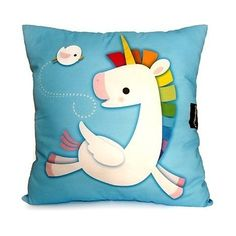 Deluxe Pillow  Rainbow Unicorn Blue by mymimi on Etsy, $38.00...pricy but fun