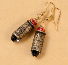 "Etched bullet casing jewelry, earrings ""Wild West"""