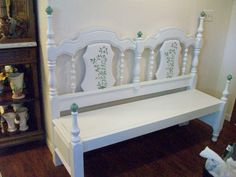 bench made from a bed. cut down side rails and attach. make inside frame and lay boards across    PJH Designs One of A Kind Vintage & Antique Furniture & Home Decor: Bed to Bench And A Giveaway