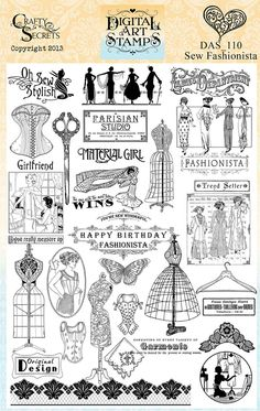 This art that makes me happy: Crafty Secrets New Sewing themed Stamps, papers and ephemera