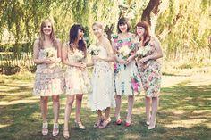 Floral Mismatched Bridesmaid Dresses