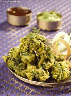 Cheel Pakodas (Mixed Greens Fritters)   Recipe: http://www.tarladalal.com/Cheel-Pakodas-(-Know-Your-Green-Leafy-Vegetables-)-32801r