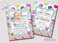 Color Splash Pool Party  Polka Dot Stripe  by inkberrycards, $18.00