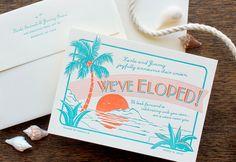 Letterpress Wedding Invitation - SAMPLE - Tropical Destination, Bahama Islands. $1.00, via Etsy.