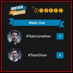 #TeamJonathan takes the first win for the season premiere of Brother Vs. Brother...but it's still anyone's game!  Go behind the scenes and vote for your favorite team at HGTV.com/brother  @drew covi Scott @Jonathan Nafarrete Silver Scott @J D Scott