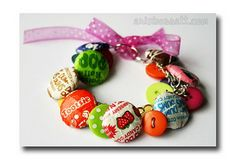 Inspiration for how to re-use discarded Halloween Candy Wrappers... Candy Wrapper Button Bracelet.