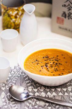 Miso Carrot Soup (coconut oil, carrots, onion, garlic, ginger, fermented miso, chicken/beef/vegetable stock/water, fresh coriander, lemon/lime, sesame seeds, coriander leaves)