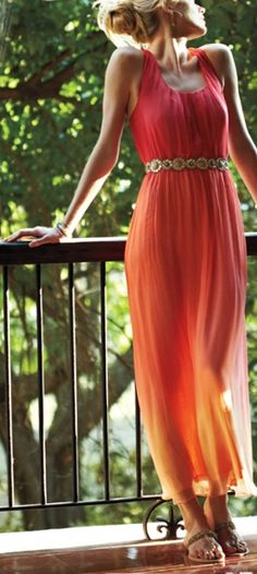 Anthropologie, Sunset Maxi Dress with horizontal lines to elongate your frame.