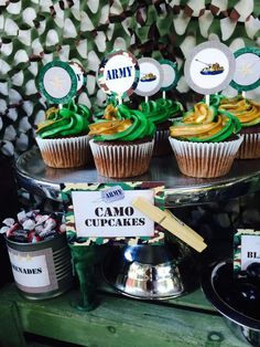 Camo Cupcakes at an Army Birthday Party!  See more party planning ideas at CatchMyParty.com!