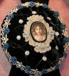 Antique Lace, Ribbon, Button, Velvet Pillow