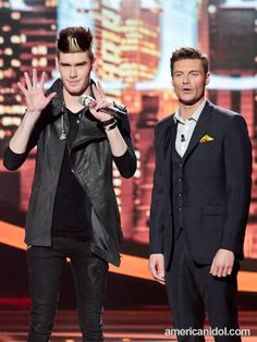 """Colton Dixon urges America to vote for him after his performance of """"Broken Heart"""" by White Lion at the Top 11 performance show."""